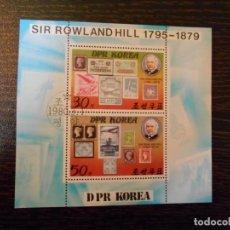 Sellos: COREA DEL NORTE-HOJA BLOQUE-SIR ROWLAND HILL-1795-1879. Lote 150442554