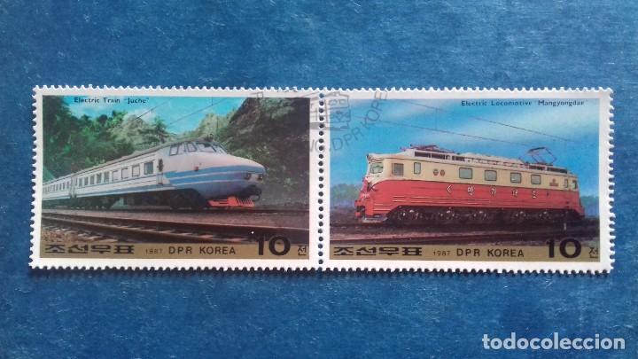 COREA DEL NORTE, 1987. YVERT 1890/1891. TRANSPORTE. TRENES ELÉCTRICOS. MATASELLADO (Sellos - Extranjero - Asia - Corea)