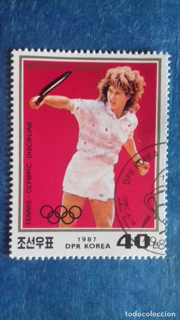 COREA DEL NORTE, 1987. YVERT 1435. TENIS. STEFFI GRAF. MATASELLADO (Sellos - Extranjero - Asia - Corea)