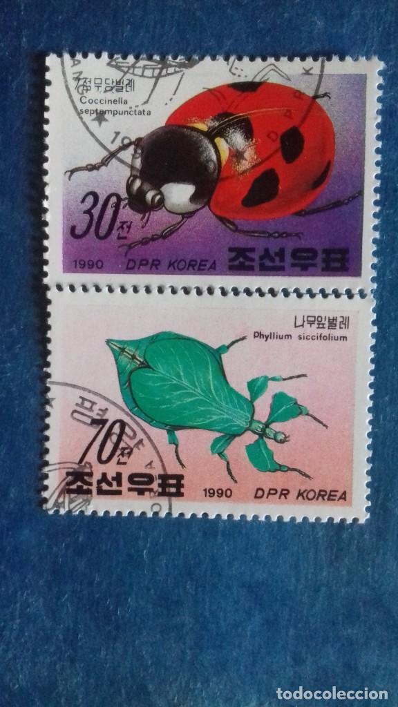 COREA DEL NORTE, 1990. YVERT 2147 Y 2149. INSECTOS. MATASELLADOS (Sellos - Extranjero - Asia - Corea)