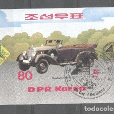 Sellos: KOREA 1985 CARS, IMPERF. SHEET, USED T.354. Lote 198273422