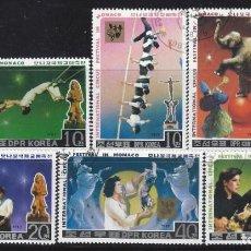 Francobolli: COREA DEL NORTE 1987 - FESTIVAL INTERNACIONAL DE CIRCO DE MONTECARLO, S.COMPLETA - SELLOS USADOS. Lote 206765555