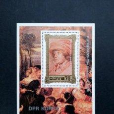 Sellos: MINIHOJA COREA DEL NORTE 1981, PINTURA PETER PAUL RUBENS, 1577-1640. Lote 213891295