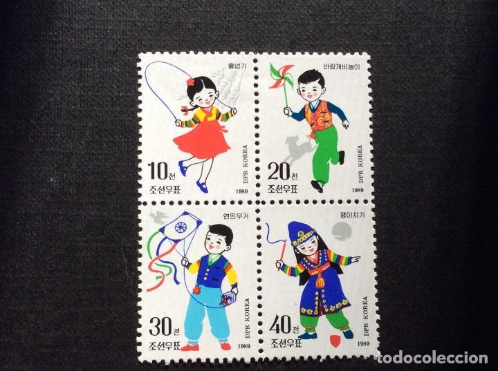 COREA DEL NORTE Nº YVERT 2085/8** AÑO 1989.JUEGOS FOLKLORICOS INFANTILES. SERIE CON CHARNELA (Sellos - Extranjero - Asia - Corea)
