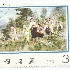 Sellos: SELLO USADO DE COREA DEL NORTE DE 1975-KIM JONG SUK-PINTURA POR REVOLUCION-YVERT 1302-VALOR 30 CHON. Lote 233884905