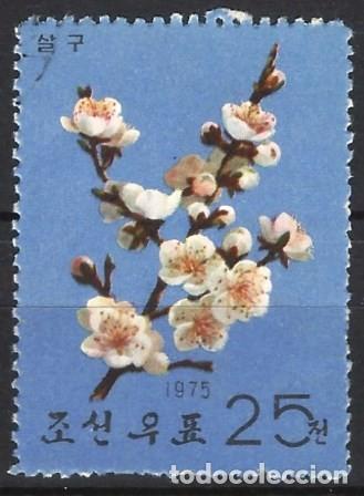 COREA DEL NORTE 1975 - ÁRBOLES Y SUS FLORES, ALBARICOQUERO - USADO (Sellos - Extranjero - Asia - Corea)