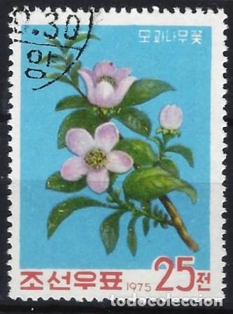 COREA DEL NORTE 1975 - FLORES DE ÁRBOLES FRUTALES, MENBRILLERO - USADO (Sellos - Extranjero - Asia - Corea)