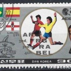 Francobolli: COREA DEL NORTE 1986 - CAMPEONATO MUNDIAL DE FÚTBOL DE MÉXICO, SOBRECARGADO - USADO. Lote 235256875