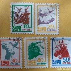 Sellos: COREA DEL NORTE AÑO 1990. ANIMALES DE GRANJA. SERIE COMPLETA.. Lote 284812878