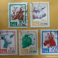 Sellos: COREA DEL NORTE AÑO 1990. ANIMALES DE GRANJA. SERIE COMPLETA.. Lote 284812898