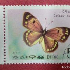Sellos: COREA DEL NORTE 1977. MARIPOSAS (1977) BUTTERFLY (COLIAS AURORA)YT:KP 1475,. Lote 288594563