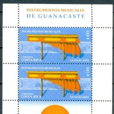 Sellos: COSTA RICA, INSTRUMENTOS MUSICALES DE GUANCASTE, SELLOS NUEVOS EN HOJA ***. Lote 23083213