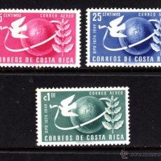 Sellos: COSTA RICA AEREO 185/87** - AÑO 1949 - 75º ANIVERSARIO DE LA UNION POSTAL UNIVERSAL. Lote 50345893