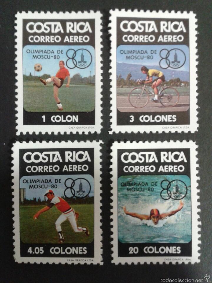 COSTA RICA. DEPORTES. YVERT A-764/7. SERIE COMPLETA NUEVA ***. OLIMPIADA MOSCÚ 80 NATACIÓN, CICLISMO (Sellos - Extranjero - América - Costa Rica)