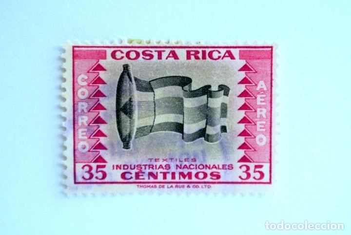 SELLO POSTAL COSTA RICA 1954, 1 C ,TEXTILES , INDUSTRIAS NACIONALES, USADO (Sellos - Extranjero - América - Costa Rica)