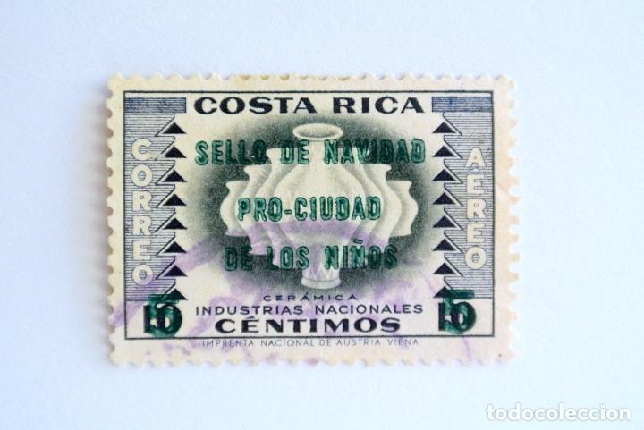 SELLO POSTAL COSTA RICA 1958, 5 C ,SELLO DE NAVIDAD , OVERPRINT PRO-CIUDAD DE LOS NIÑOS, USADO (Sellos - Extranjero - América - Costa Rica)