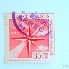 Sellos: SELLO POSTAL COSTA RICA 1961, 35 C , OMM, CORREO AÉREO, USADO. Lote 154693302