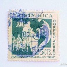 Sellos: SELLO POSTAL COSTA RICA 1961, 25 C , ORGANIZACION INTERNACIONAL DEL TRABAJO, CORREO AÉREO, USADO. Lote 154738690