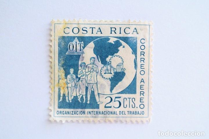 SELLO POSTAL COSTA RICA 1961, 22 CTS,OIT ORGANIZACIÓN INTERNACIONAL DEL TRABAJO, USADO. RAREZA AZUL (Sellos - Extranjero - América - Costa Rica)