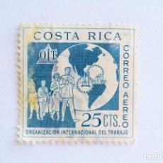 Sellos: SELLO POSTAL COSTA RICA 1961, 22 CTS,OIT ,ORGANIZACIÓN INTERNACIONAL DEL TRABAJO, USADO. RAREZA AZUL. Lote 154743998