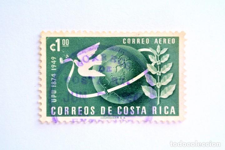 SELLO POSTAL COSTA RICA 1950, 1 COLÓN, UPU 1874 - 1949 , CORREO AÉREO, USADO. (Sellos - Extranjero - América - Costa Rica)