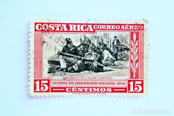 SELLO POSTAL COSTA RICA 1950, 15 C, BATALLA EL TEJAR CARTAGO ,CORREO AÉREO, USADO. (Sellos - Extranjero - América - Costa Rica)