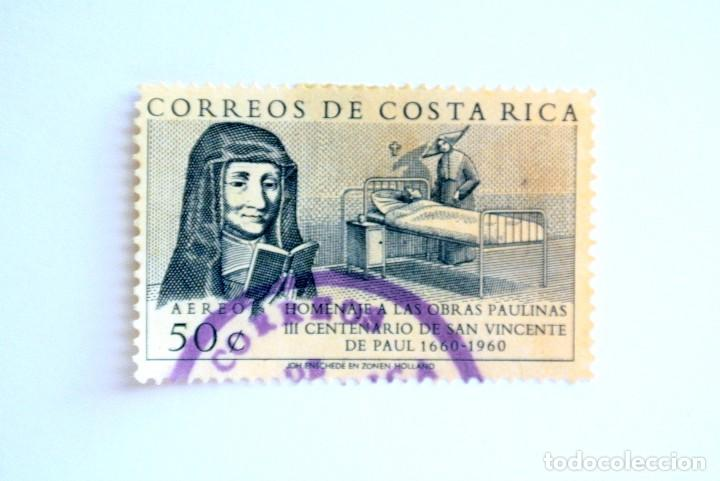 SELLO POSTAL COSTA RICA 1960 ,50 C , III CENTENARIO DE SAN VICENTE DE PAUL 1660-1960, USADO (Sellos - Extranjero - América - Costa Rica)