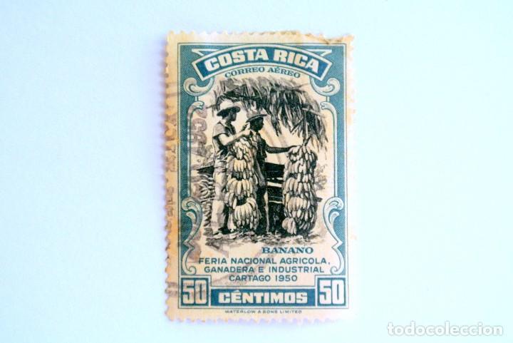 SELLO POSTAL COSTA RICA 1950 ,50 C,BANANO, FERIA NACIONAL AGRICOLA,GANADERA E INDUST. CARTAGO, USADO (Sellos - Extranjero - América - Costa Rica)