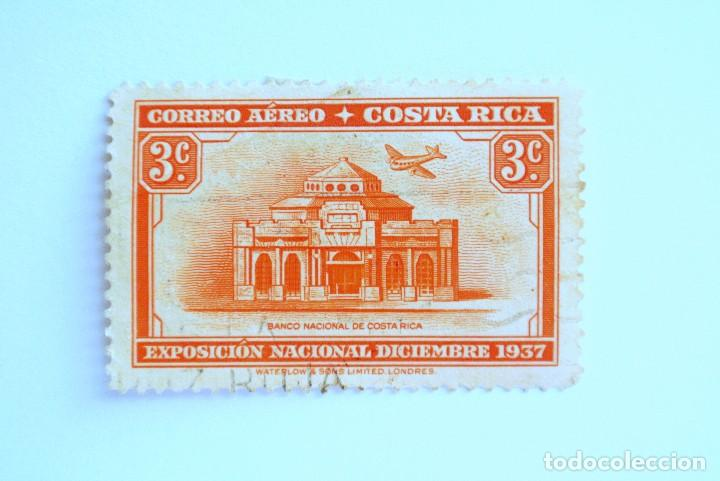 SELLO POSTAL COSTA RICA 1938 ,3 C, EXPOSICION NACIONAL DICIEMBRE 1937, BANCO COSTA RICA, USADO (Sellos - Extranjero - América - Costa Rica)