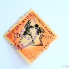 Sellos: SELLO POSTAL COSTA RICA 1960 ,10 C, BOXEO , OLIMPIADAS ROMA 1960, USADO. Lote 154882214