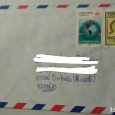 Sellos: SOBRE CIRCULADO COSTA RICA MAPA SUDAMERICA AGENTES ADUANAS SERVICIO CIVIL. Lote 159113686