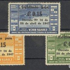 Sellos: COSTA-RICA, AÉREO. MH *YV 143/45. 1947. SERIE COMPLETA. SOBRECARGA INVERTIDA. MAGNIFICA Y MUY RARA.. Lote 183119437
