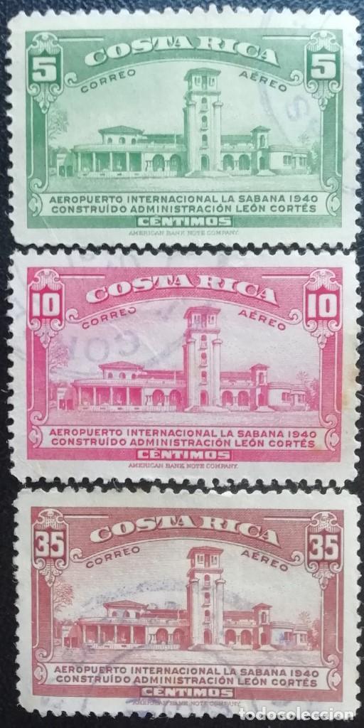 1940. COSTA RICA. A 38, A 39, A 41. AEROPUERTO DE LA SABANA. USADO. (Sellos - Extranjero - América - Costa Rica)