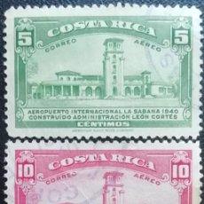 Sellos: 1940. COSTA RICA. A 38, A 39, A 41. AEROPUERTO DE LA SABANA. USADO.. Lote 190379341