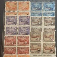 Sellos: O) 1911 COSTA RICA. MUESTRA PONCHADA, SELLOS TELEGRÁFICOS- BUQUES, BONITO JUEGO COMPLETO POR BLOQUE. Lote 234997685