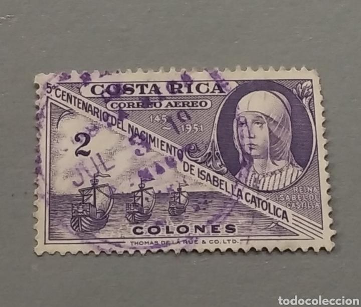 SELLO COSTA RICA 5 CENTENARIO ISABEL LA CATÓLICA AÑO 1951 (Sellos - Extranjero - América - Costa Rica)