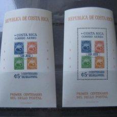 Sellos: *COSTA RICA, 1963, HOJITAS BLOQUE CENTENARIO DEL SELLO POSTAL, CON Y SIN DENTADO, YVERT 6. Lote 242873615
