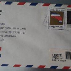 Sellos: CARTA CIRCULADA CERTIFICADA REGISTRO CIVIL COSTA RICA ESPAÑA SELLOS MAPA. Lote 247730495