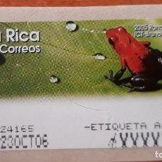 Sellos: ATM COSTA RICA RANA ROJA ETIQUETA AJUSTE. Lote 251856405