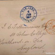 Sellos: O) 1897 COSTA RICA, CORREO SUBMARINO, DAÑOS POR INMERSIÓN EN AGUA DE MAR, DESDE SAN JOSÉ, A INGLATER. Lote 288301063