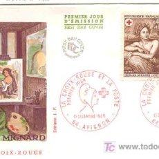 Sellos: FRANCIA 1969.- MATASELLO PRIMER DIA.- LA CRUZ ROJA Y LA POSTE. Lote 12490766