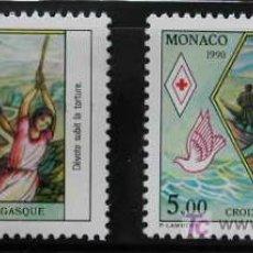 Sellos: MONACO 1990 - CRUZ ROJA - YVERT 1720-21**. Lote 6425397