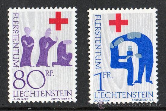 LIECHTENSTEIN AÑO 1963 YV 379/80*** CENTENARIO DE LA CRUZ ROJA - SALUD (Sellos - Temáticas - Cruz Roja)
