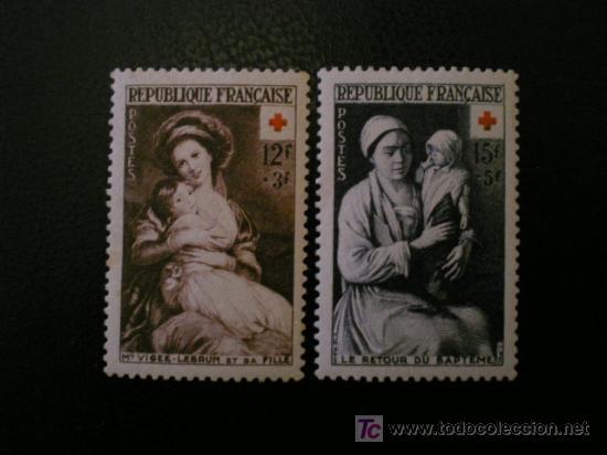 FRANCIA 1953 IVERT 966/7 *** PRO CRUZ ROJA - PINTURA (Sellos - Temáticas - Cruz Roja)
