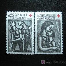 Sellos: FRANCIA 1961 IVERT 1323/4 *** PRO CRUZ ROJA - OBRAS DE ROUAULT. Lote 16864180