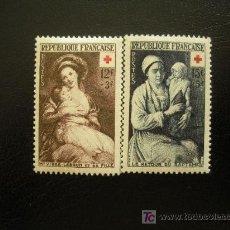 Sellos: FRANCIA 1953 IVERT 966/7 *** PRO CRUZ ROJA - PINTURA. Lote 25991668
