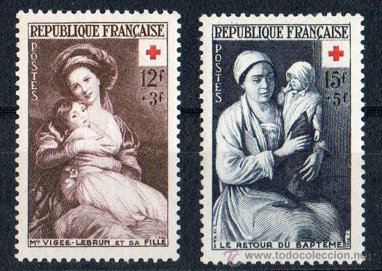 FRANCIA AÑO 1953 YV 966/67* CRUZ ROJA - ARTE - PINTURA - NIÑOS (Sellos - Temáticas - Cruz Roja)