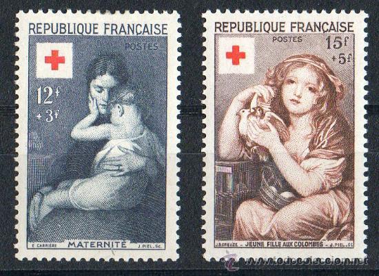 FRANCIA AÑO 1954 YV 1006/07* CRUZ ROJA - ARTE - AVES - NIÑOS - PINTURA (Sellos - Temáticas - Cruz Roja)