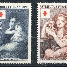 Sellos: FRANCIA AÑO 1954 YV 1006/07* CRUZ ROJA - ARTE - AVES - NIÑOS - PINTURA. Lote 27641136