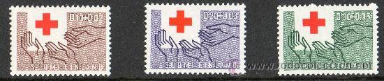 FINLANDIA AÑO 1963 YV 551/53* CENTENARIO DE LA CRUZ ROJA INTERNACIONAL - MANOS (Sellos - Temáticas - Cruz Roja)